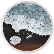 Round Beach Towel featuring the painting Sand Dollar by Darice Machel McGuire