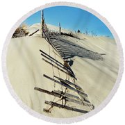 Sand Dune Fences And Shadows Round Beach Towel by Gary Slawsky