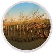 Sand Dune In Late September - Jersey Shore Round Beach Towel