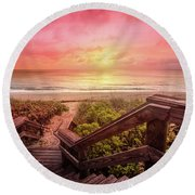 Round Beach Towel featuring the photograph Sand Dune Morning by Debra and Dave Vanderlaan