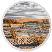 Sand Dune Wind Carvings Round Beach Towel