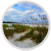 Sand Dunes And Blue Skys Round Beach Towel