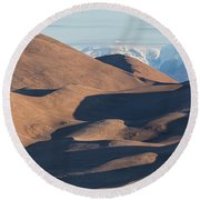 Sand Dunes And Rocky Mountains Panorama Round Beach Towel by James BO Insogna