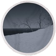 Round Beach Towel featuring the photograph Sand Dunes And Trees by Rachel Cohen