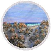 Sand Dunes Sea Grass Beach Painting Round Beach Towel