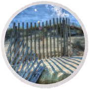 Sand Fence Round Beach Towel by Greg Reed