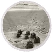 Round Beach Towel featuring the photograph Sand Fun by Raymond Earley