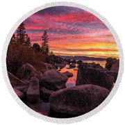 Sand Harbor Beach Round Beach Towel