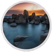 Sand Harbor Sunset Round Beach Towel by Alpha Wanderlust