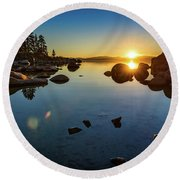 Sand Harbor Sunset Round Beach Towel