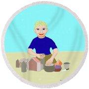 Sand Sculptor Round Beach Towel