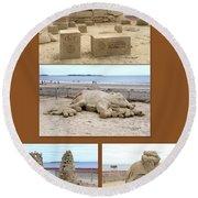 Sand Sculpture Collage Round Beach Towel