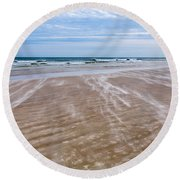Sand Swirls On The Beach Round Beach Towel by John M Bailey