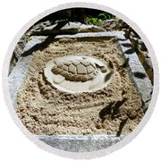 Round Beach Towel featuring the photograph Sand Turtle Print by Francesca Mackenney