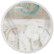 Sandcastles- Abstract Painting Round Beach Towel