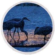 Sandhill Cranes At Twilight Round Beach Towel