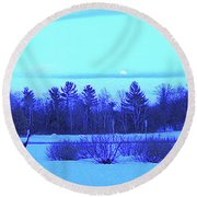 Sandhill Cranes Reflecting In The Moonlight Round Beach Towel by Randy Rosenberger