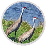 Sandhill Pair Round Beach Towel