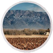 Round Beach Towel featuring the photograph Sandias - Los Poblanos Fields by Nikolyn McDonald