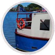 Round Beach Towel featuring the photograph Sandpiper On The Maumee by Michiale Schneider