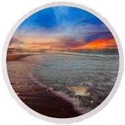 Sandpiper Sunrise Round Beach Towel by Betsy Knapp