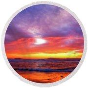 Sandpiper Sunset Ventura California Round Beach Towel