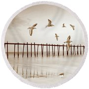 Sandpipers In Sepia Round Beach Towel