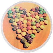 Sands Of Retro Love Round Beach Towel