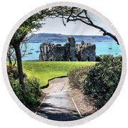 Sandsfoot Castle Weymouth Uk Round Beach Towel