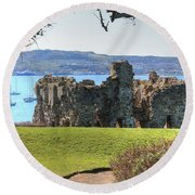 Sandsfoot Castle With Portland Round Beach Towel
