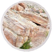 Round Beach Towel featuring the photograph Sandstone Along Park Road In Valley Of Fire by Ray Mathis