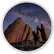 Sandstone And Milky Way Round Beach Towel