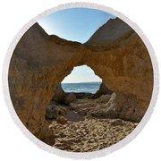 Sandstone Arch In Gale Beach. Algarve Round Beach Towel