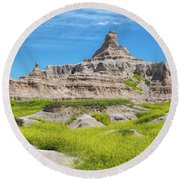 Round Beach Towel featuring the photograph Sandstone Battlestar by John M Bailey