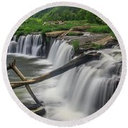 Round Beach Towel featuring the photograph Sandstone Falls by Ronald Santini