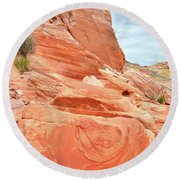 Round Beach Towel featuring the photograph Sandstone Pillar In Valley Of Fire by Ray Mathis