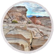 Sandstone Staircase In Valley Of Fire Round Beach Towel