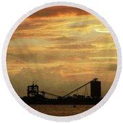 Sandusky Coal Dock Sunset Round Beach Towel by Shawna Rowe