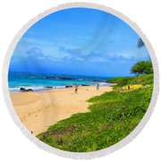 Round Beach Towel featuring the photograph Sandy Beaches Of Maui by Michael Rucker