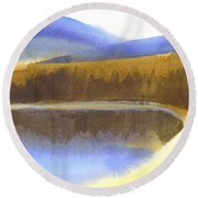 Round Beach Towel featuring the painting Sandy Blue Dusky Mountain Lake by Kip DeVore