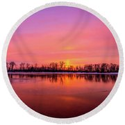 Sandy Chute Sunset Round Beach Towel
