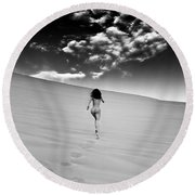 Sandy Dune Nude - Catching The Clouds Round Beach Towel