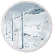 Round Beach Towel featuring the photograph Sandy Dunes. Series Ethereal Blue by Jenny Rainbow