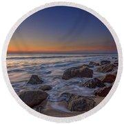 Sandy Hook At Sunrise Round Beach Towel