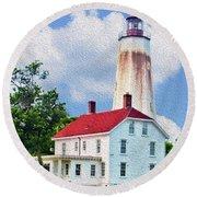 Sandy Hook Light House Round Beach Towel