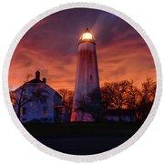 Sandy Hook Lighthouse Round Beach Towel