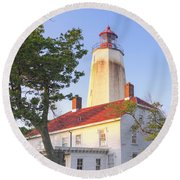 Sandy Hook Lighthouse Square Round Beach Towel