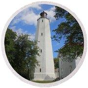 Sandy Hook Lighthouse Tower Round Beach Towel