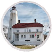 Sandy Hook Lighthouse - Winter Round Beach Towel