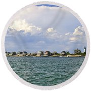 Sandy Neck Cottage Colony Round Beach Towel by Charles Harden